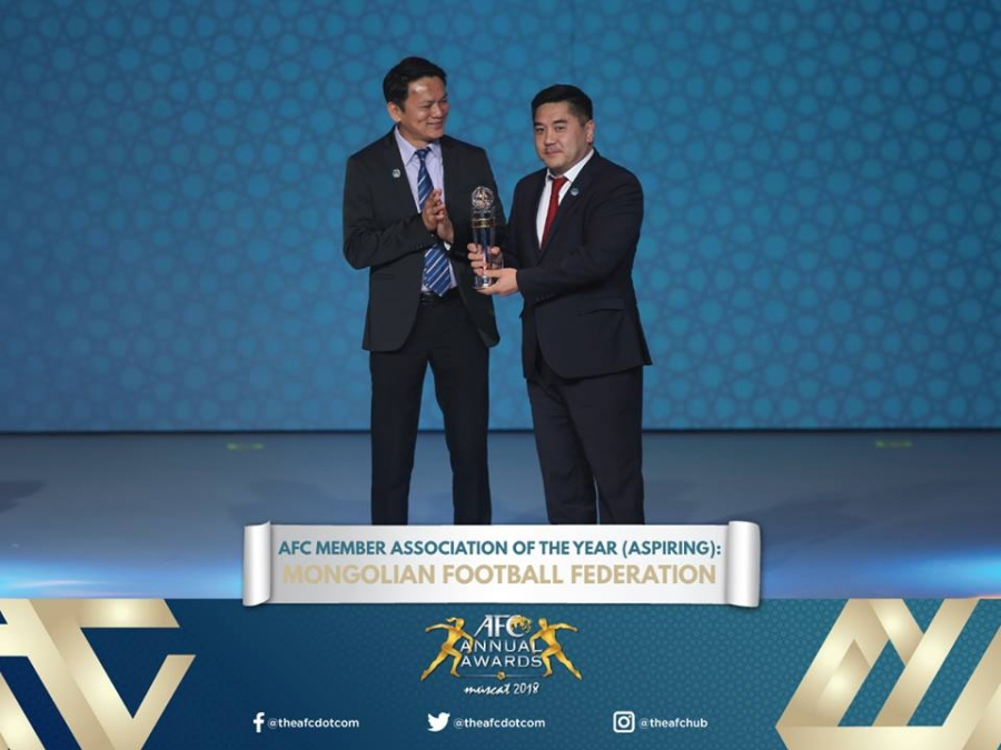 """Монголын хөлбөмбөгийн холбоо """"AFC Awards-2018""""-ын шагнал хүртжээ"""