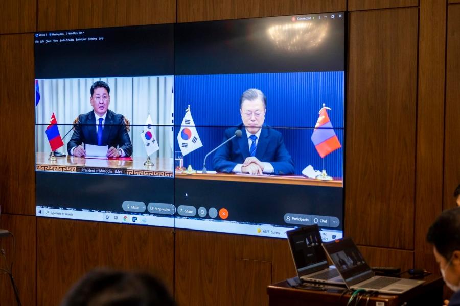 Ерөнхийлөгч У.Хүрэлсүх БНСУ-ын Ерөнхийлөгч Мүн Жэ Ин-тэй дээд түвшний цахим уулзалт хийлээ
