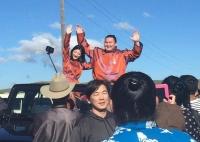 Сумогийн их аварга Хакухо М.Даваажаргал тэргүүтэй бөхчүүд ирлээ